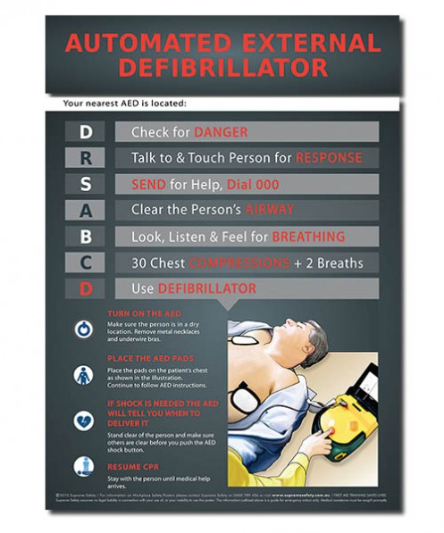 A safety poster showing how to use an Automated Defibrillator