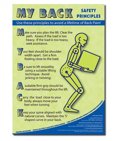 A safety poster showing how to prevent back injuries in the work place