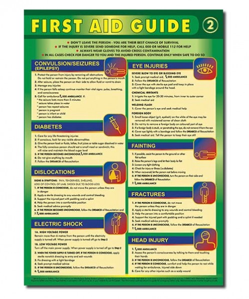 A first aid guide poster - buy your first aid safety poster online and save