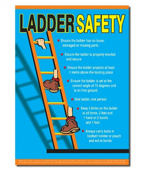safety posters for using ladders safely