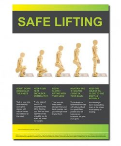 A safety poster showing how to apply safe lifting in the work place