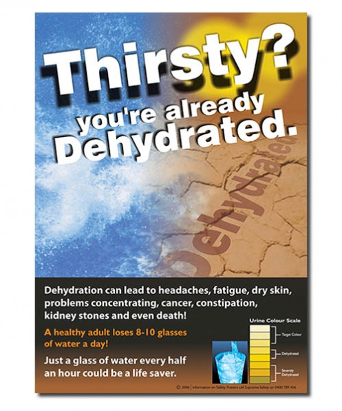 A safety poster on Dehydration