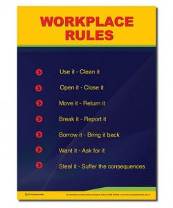Workplace rules safety posters