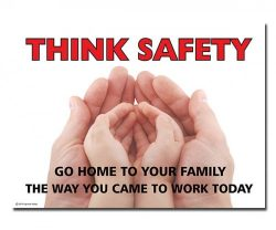 A poster for thinking saftly in the workplace