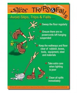 safety poster showing how to prevent slips, trips and falls