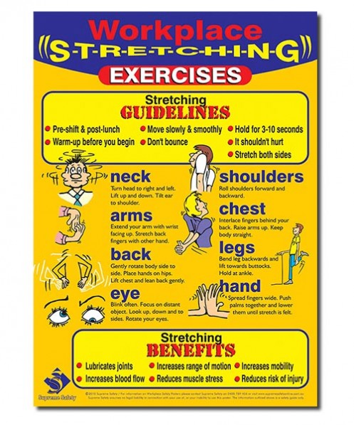 A great poster for the work place showing several stretching techniques