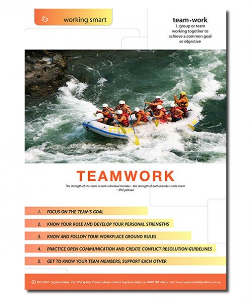 A workplace teamwork poster