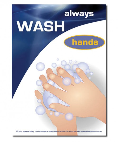 A poster to wash hands correctly in the workplace