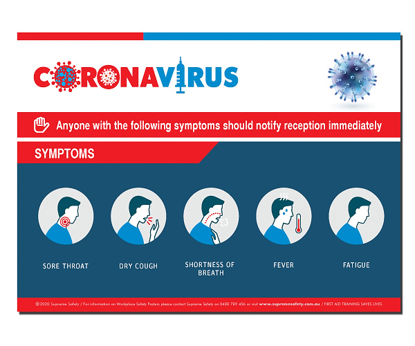A safety poster showing the symptoms of COVID-19 (CORONAVIRUS)